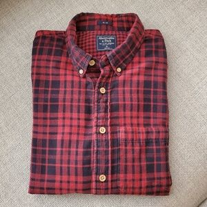 Abercrombie & Fitch Navy Red Plaid Slim Fit Shirt